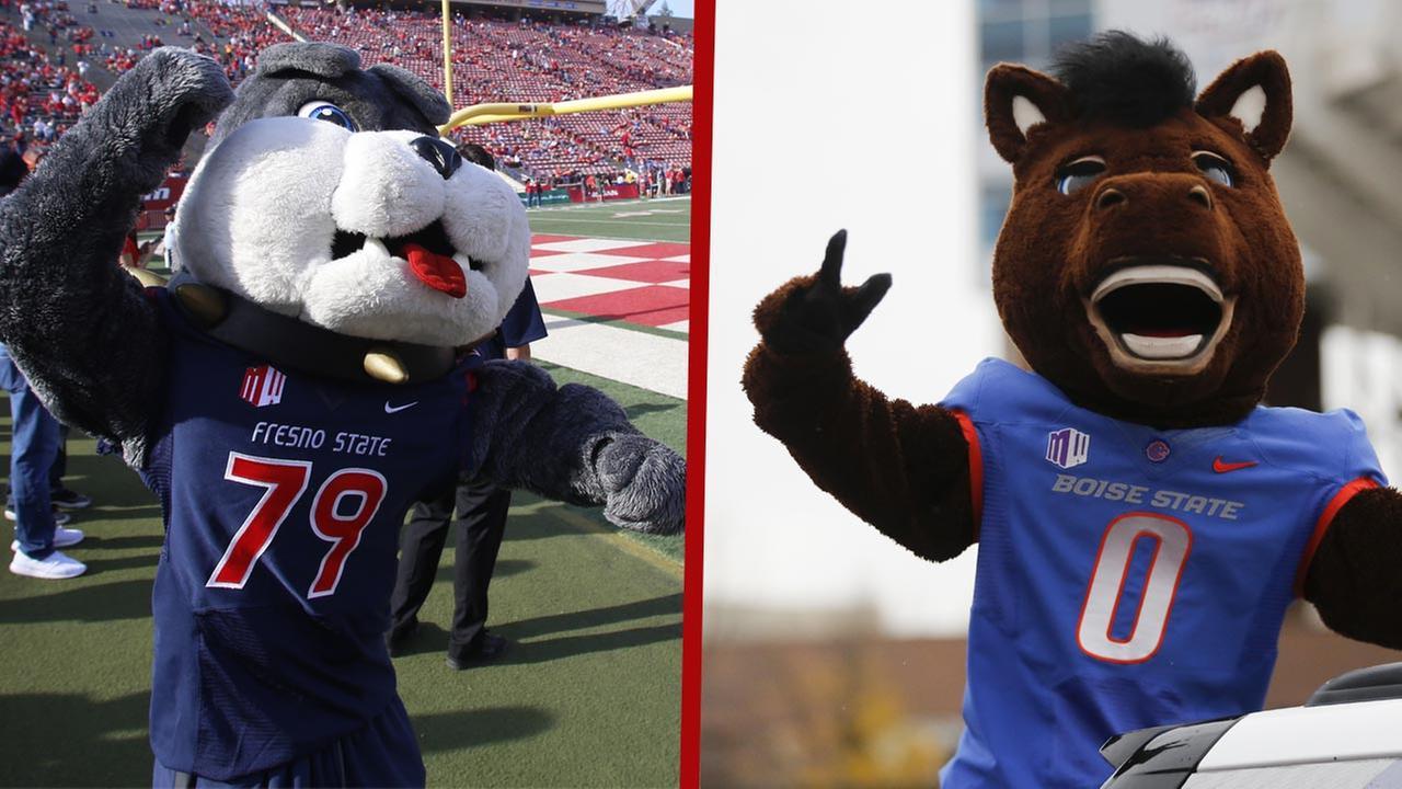 Fresno States bulldog and Boise State mascot Buster Bronco