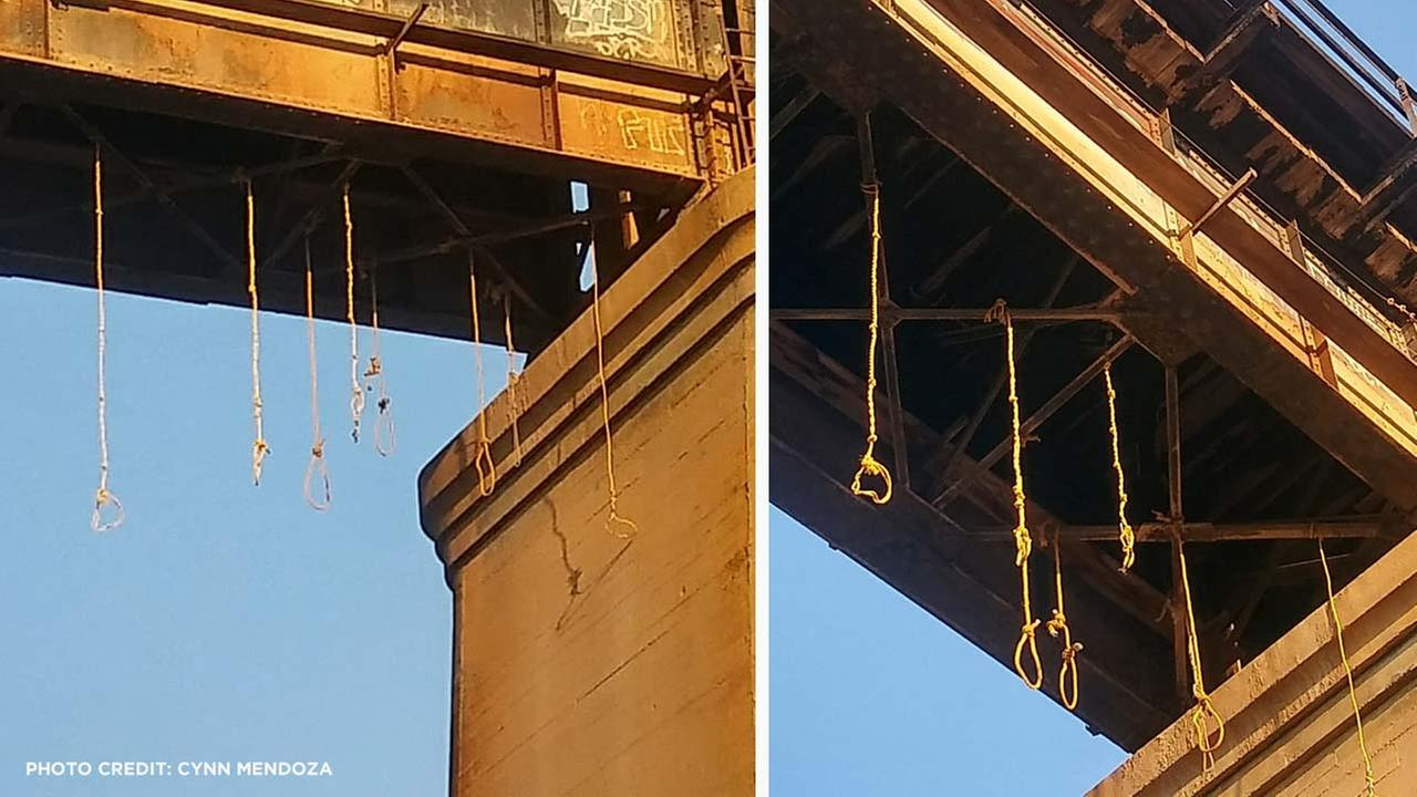 Railroad Police are trying to find out who tied eight nooses to the bottom of a bridge near the Riverside Golf Course.