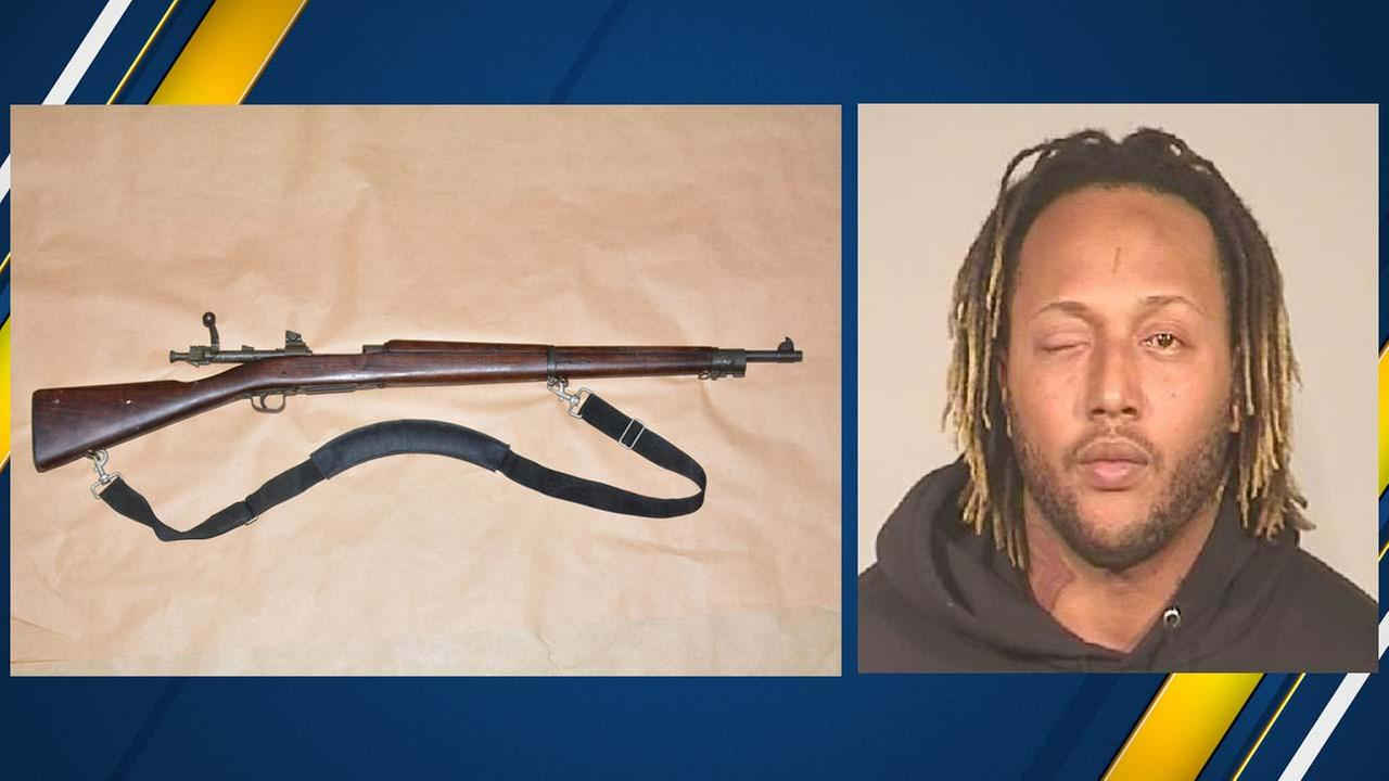 A gang member was arrested in Southwest Fresno with a World War 1 rifle, Fresno Police said.