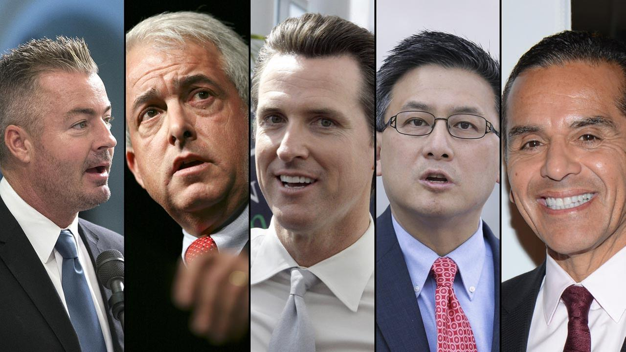 Left to right: Travis Allen, John Cox, Gavin Newsom, John Chang, Antonio Villaraigosa