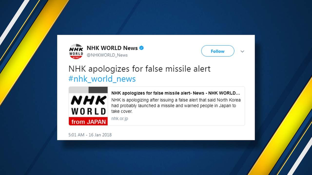 Japans public broadcaster mistakenly sent an alert warning citizens of a North Korean missile launch and urging them to seek immediate shelter, then retracted it minutes later.