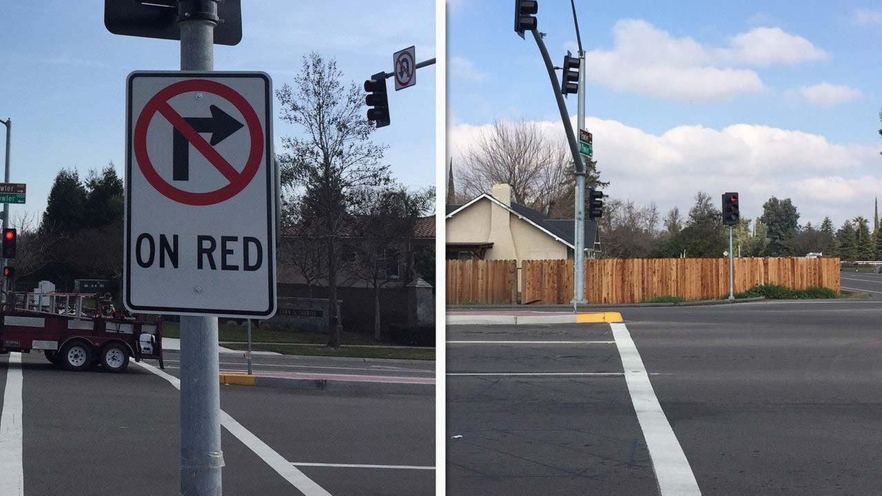 According to the Clovis Police Department, a No Turn on Red sign has been put up at the intersection of Shepherd and Fowler Avenues due to a fence blocking the way.