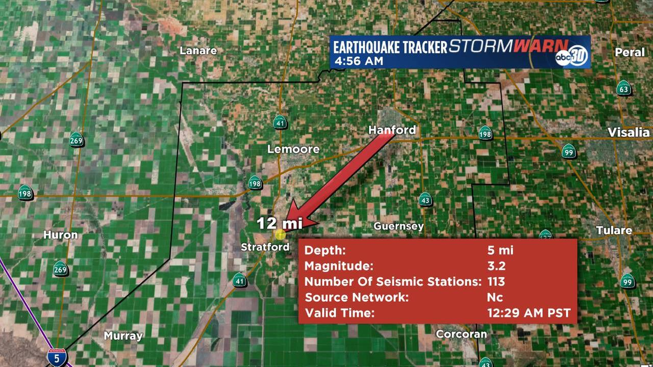 Around 12:29 AM Friday morning a magnitude 3.2 earthquake was reported near Stratford. That is 12 miles southwest if Hanford.