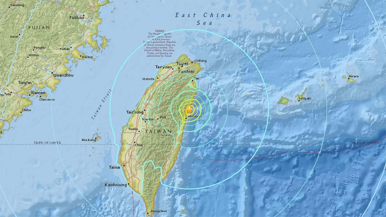 A magnitude-6.4 earthquake struck Tuesday near the coast of Taiwan, and people may be trapped inside a building.