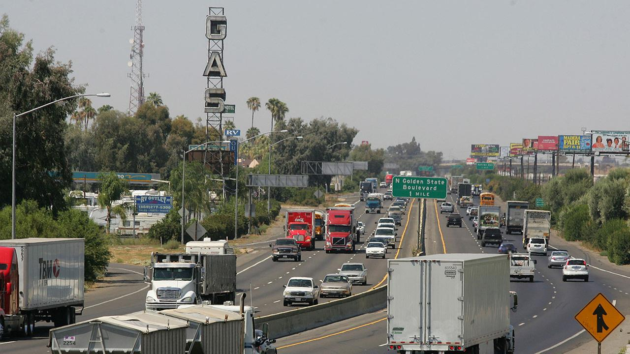 FILE - In this Aug. 23, 2011 photo, a stretch of California State Route 99 corridor in Fresno is shown busy with traffic.