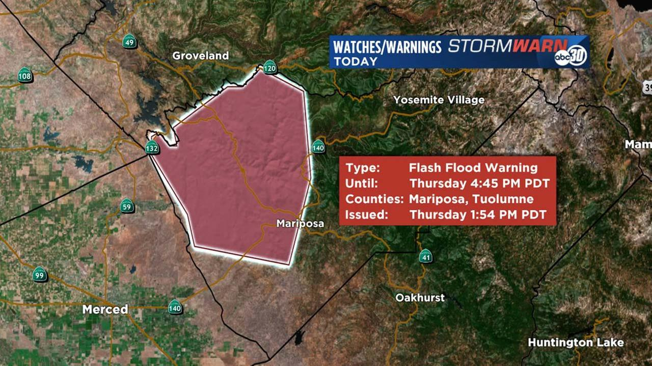 Flash Flood Warning for portions of Mariposa county. A line of thunderstorms producing heavy rain that could cause flash flooding in the next few hours.