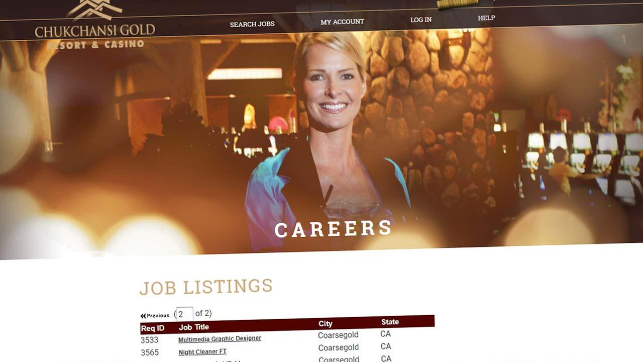 Screen capture of the Chukchansi Gold Resort and Casino careers page.