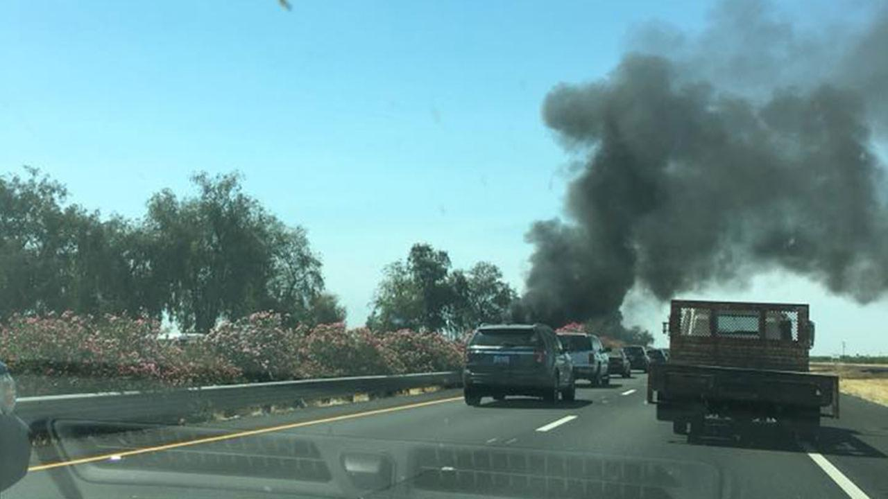 This image from #ABC30Insider DJ Alex Reyes shows the big rig fire that caused a big back up Monday on Highway 99.