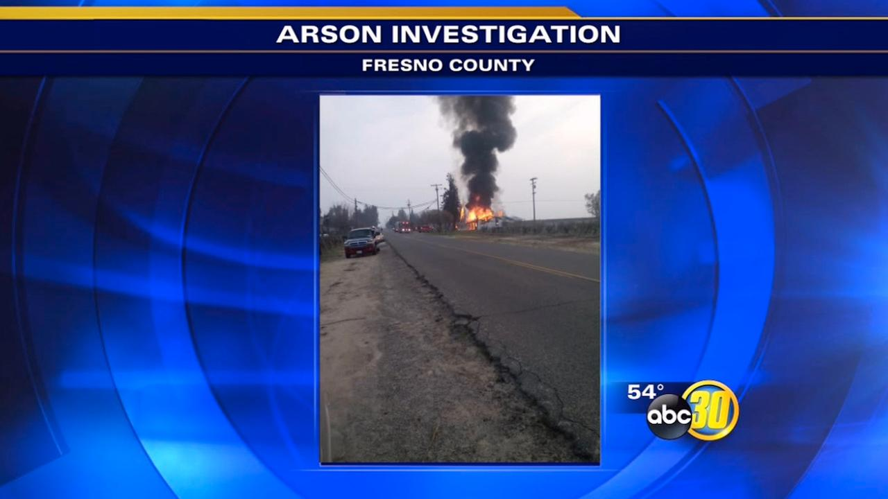 An abandoned home went up in flames around 4 p.m. Saturday near Caruthers.