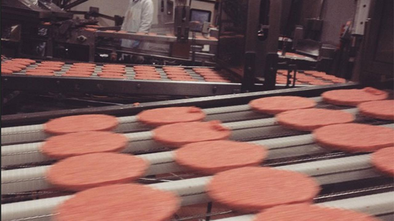 McDonalds beef patties at the Cargill plant in Fresno
