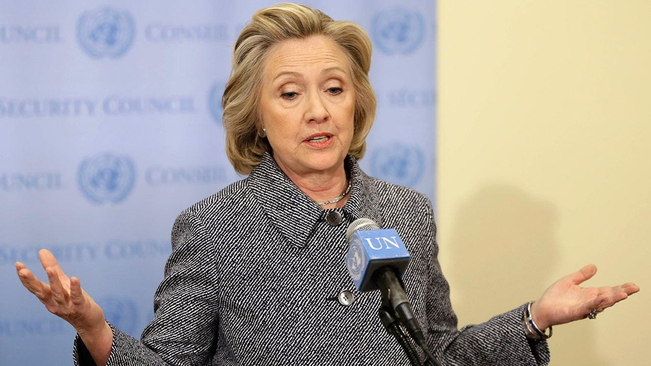 Hillary Rodham Clinton speaks to the reporters at United Nations headquarters