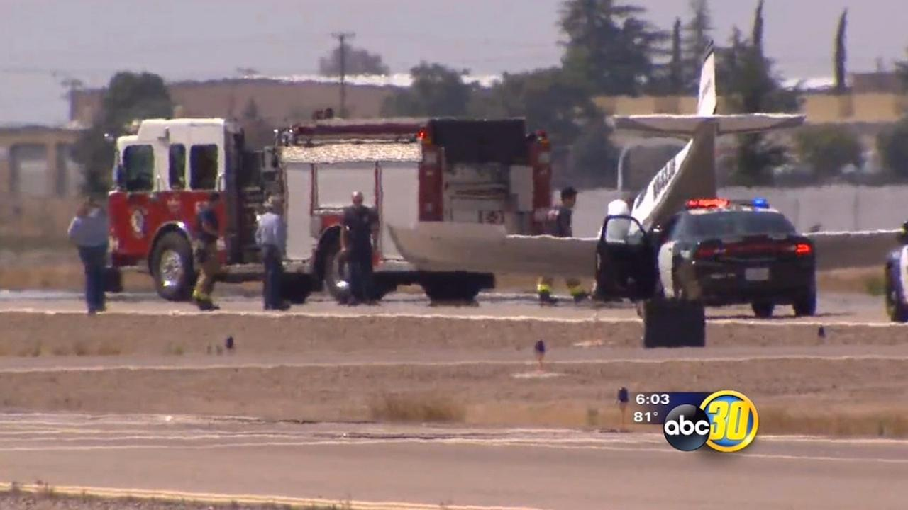 Small plane ends up with nose on ground at Fresnos Chandler Airport