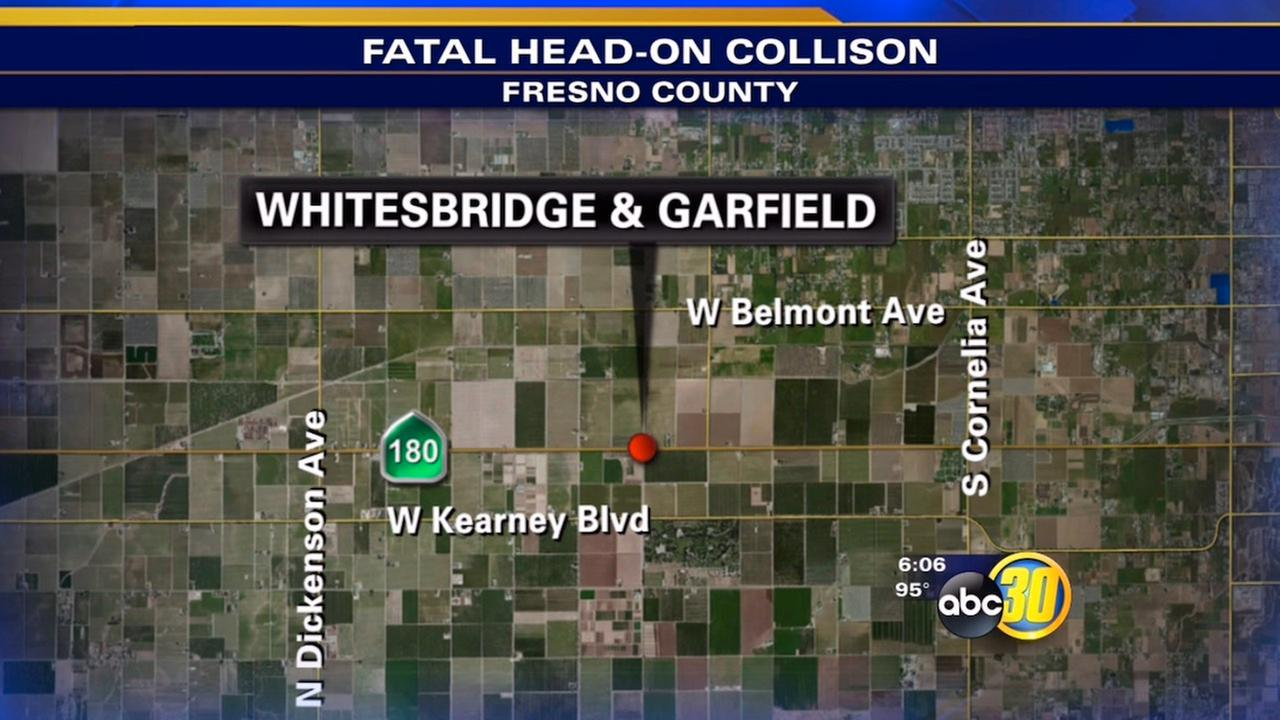 One person id dead after a head-on crash in Fresno County on Sunday, June 21, 2015.