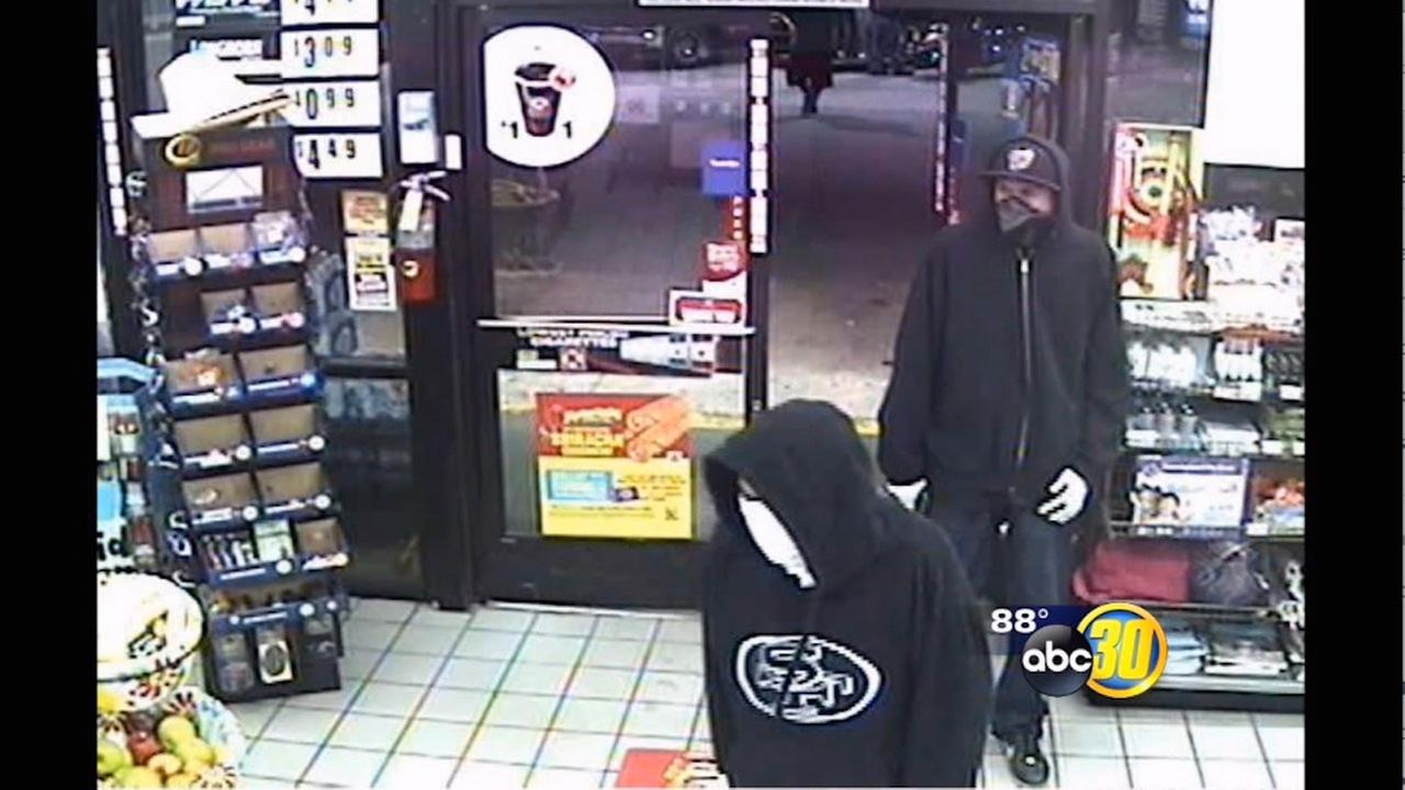 Surveillance images show the men walking into the Circle-K store in Hanford