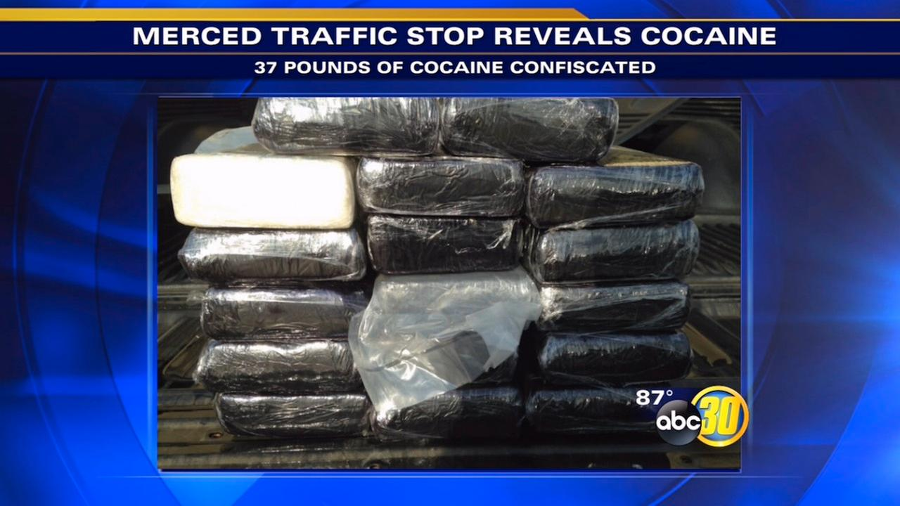 Merced traffic stop leads to discovery 37 pounds of cocaine