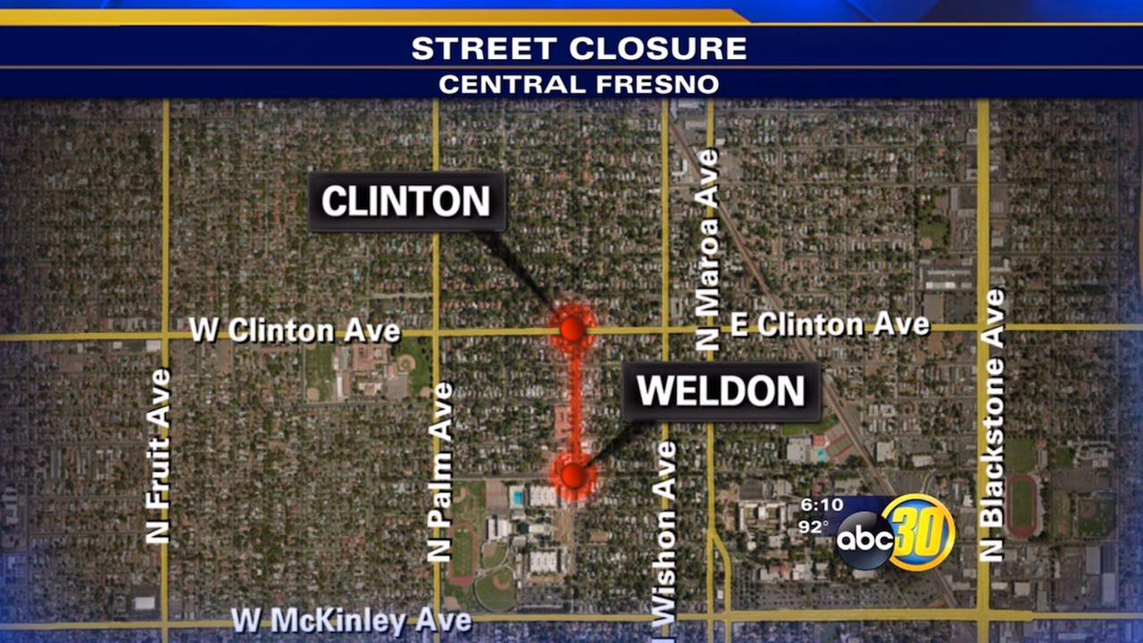 Portion of Van Ness Avenue in Central Fresno to close intermittently for roadwork