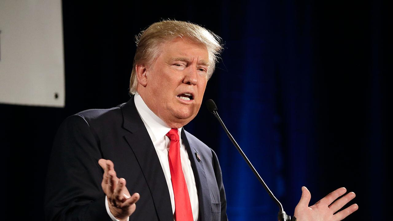 Republican presidential candidate Donald Trump speaks at the National Federation of Republican Assemblies