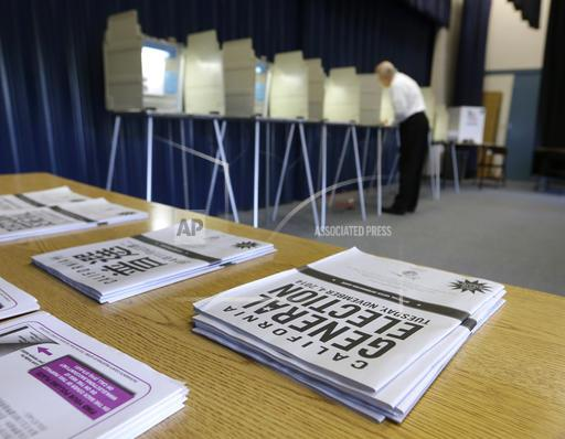 FILE - In this Nov. 4, 2014, file photo, a voter marks his ballot while voting in Elk Grove, Calif. (AP Photo/Rich Pedroncelli, File)