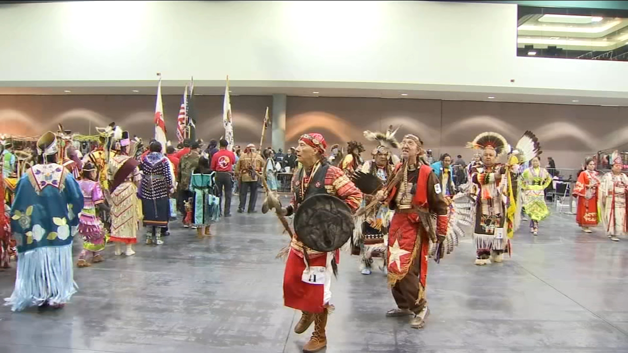 Drum circles and dance rang in the new year at the Red Road Pow Wow committee in Fresno.