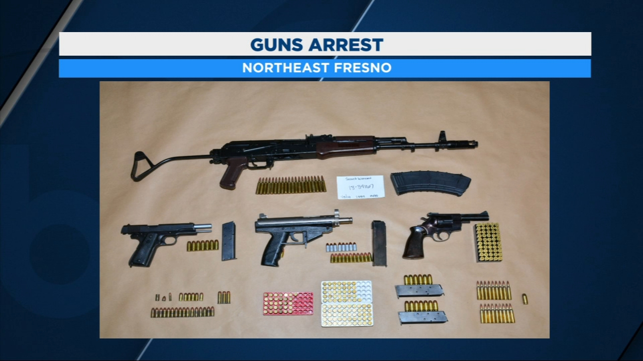 Detectives say the ex-felon was in possession of four firearms, including a machine gun that was reported stolen from a U.S. military base.