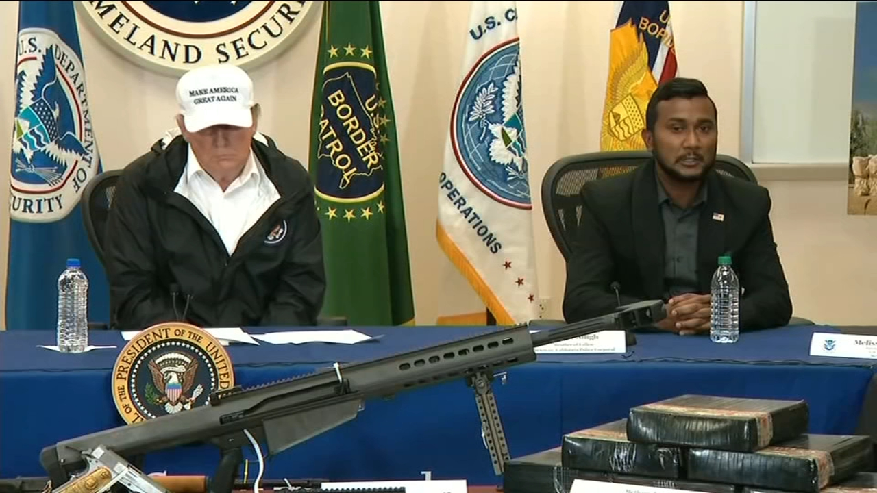 The brother of slain Newman Police Corporal Ronil Singh spoke at a round-table discussion during President Trumps border visit in Texas Thursday.