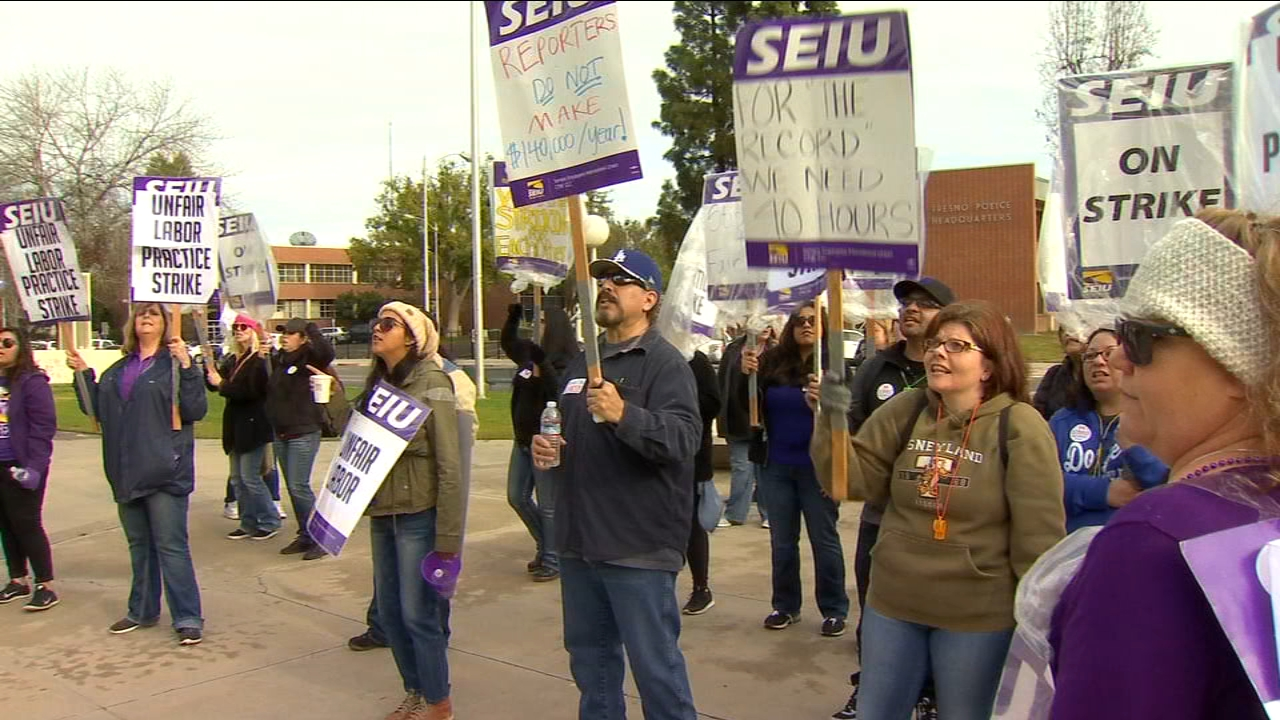 For a fourth day, Fresno County court reporters and clerks picketed in front of the courthouse.
