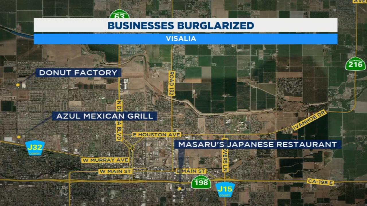 Burglars hit 3 Visalia businesses in 45 minutes