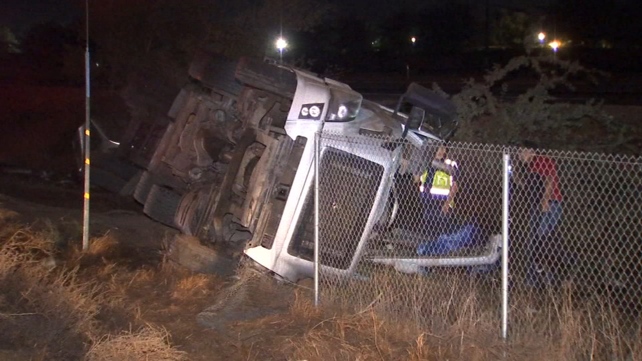 A truck driver is in the hospital after his tanker containing several gallons of milk went off an embankment near Lemoore.
