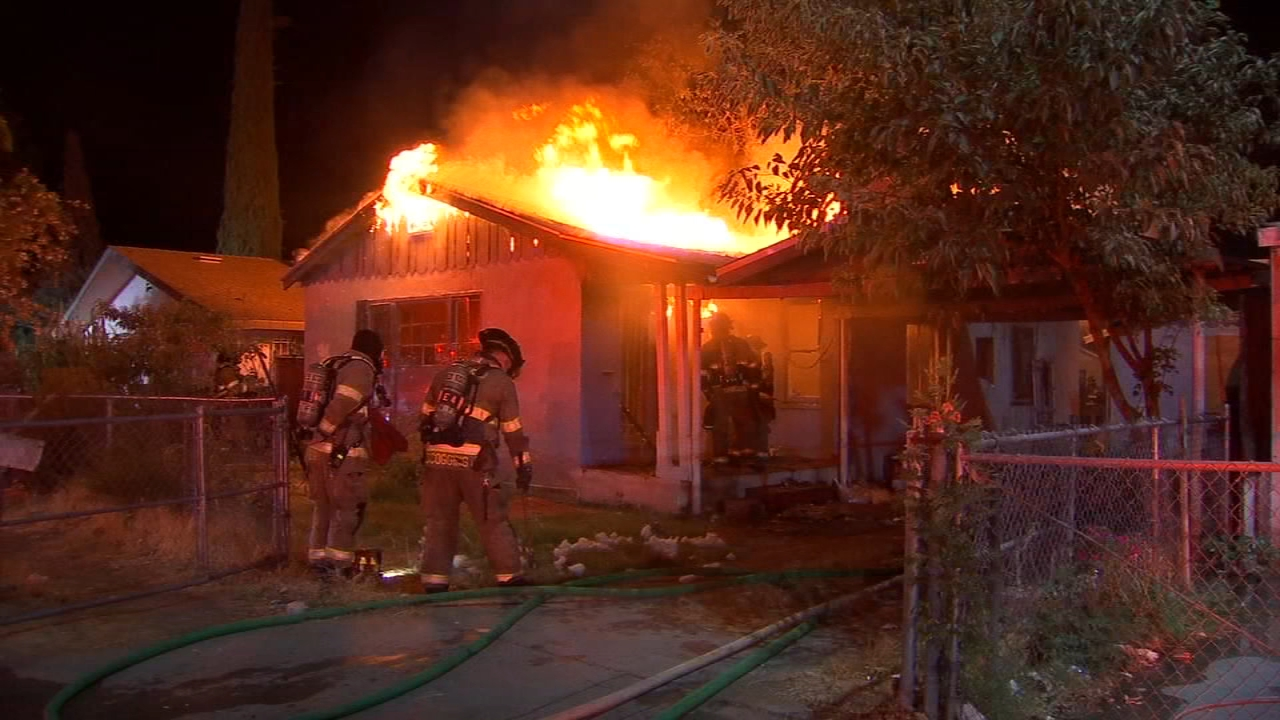 Fresno firefighters worked to protect nearby buildings in tackling their ninth fire in the past three days.