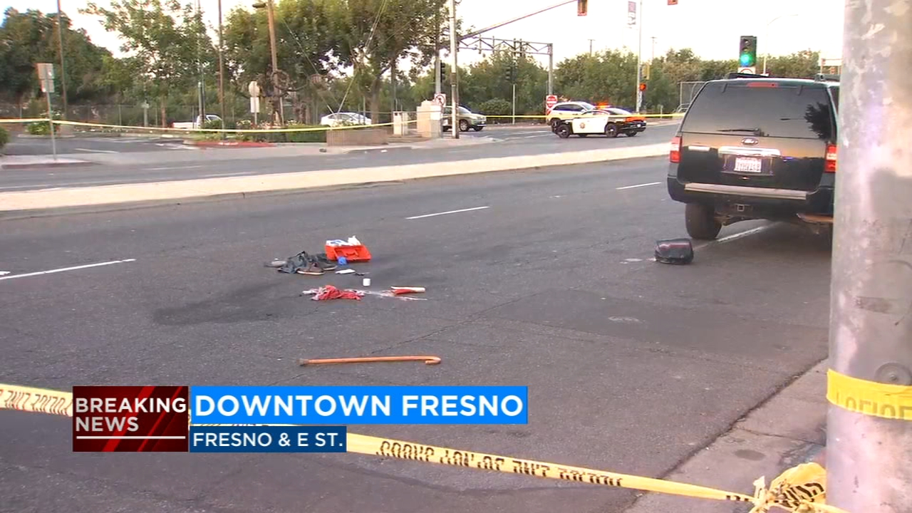 A man has been rushed to the hospital after being hit by a car at Fresno Street and E Street in Downtown Fresno.