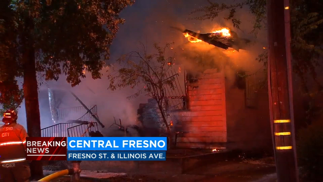 Flames erupted at a boarded up home on Illinois Avenue near Fresno Street.