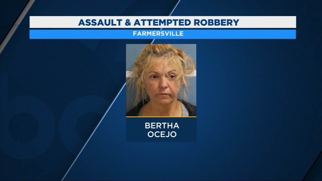 A Farmersville woman is facing charges after assaulting and trying to rob a man.