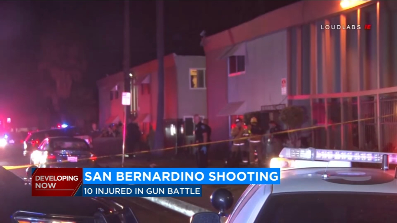 According to police, 10 people are in the hospital this Labor Day following a gun battle in one San Bernardino neighborhood in Southern California.