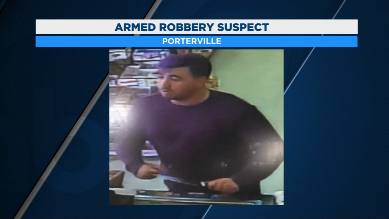 Porterville Police officers are searching for this man in connection to an armed robbery at a Dino Mart in Porterville.