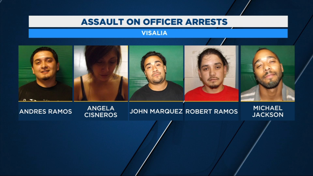 Visalia Police arrested five suspects after they say one of their officers was assaults.