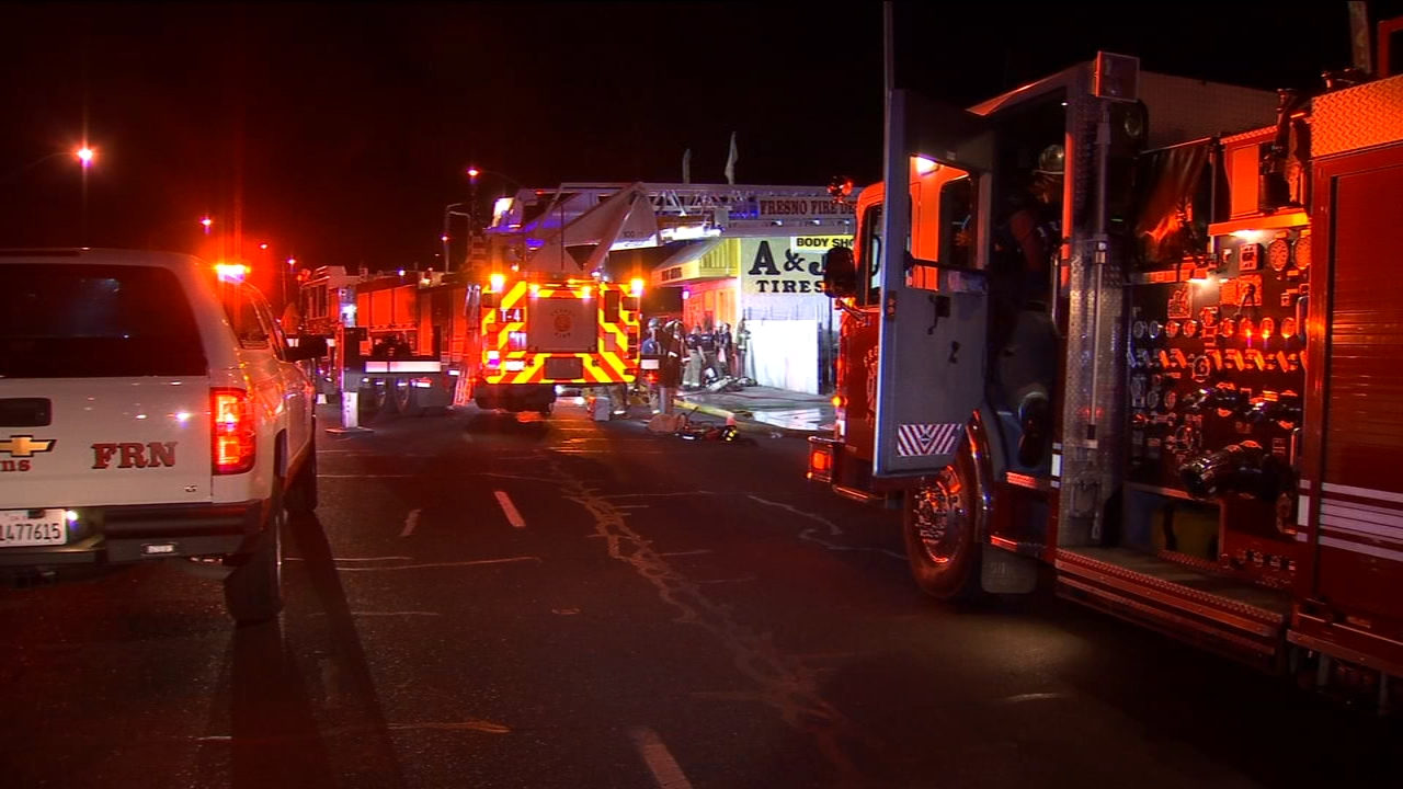 Firefighters stopped a tire shop from going up in flames in Central Fresno late Sunday night.