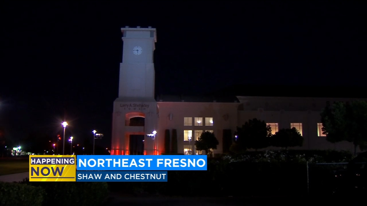 The Shehadey Tower at the Save Mart Center at Fresno State is lit up red Monday morning.