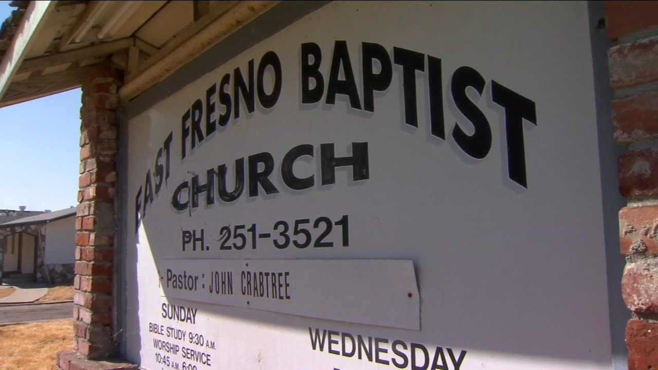 Remnants of shattered glass are what remain after the East Fresno Baptist Church was the target of a possible hate crime Saturday night.