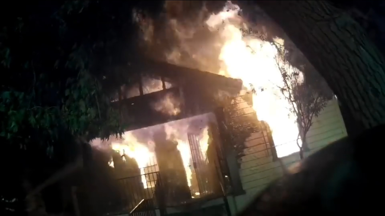 Were getting a look at a Fresno firefighters perspective of a recent house fire.