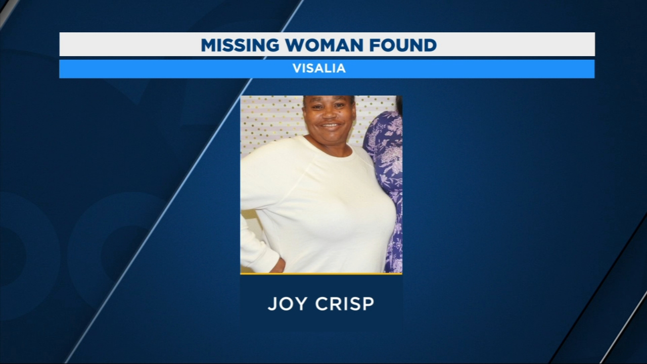 Deputies say 57-year old Joy Crisp was found safe last night in Visalia, about 20 miles away where she was last seen.