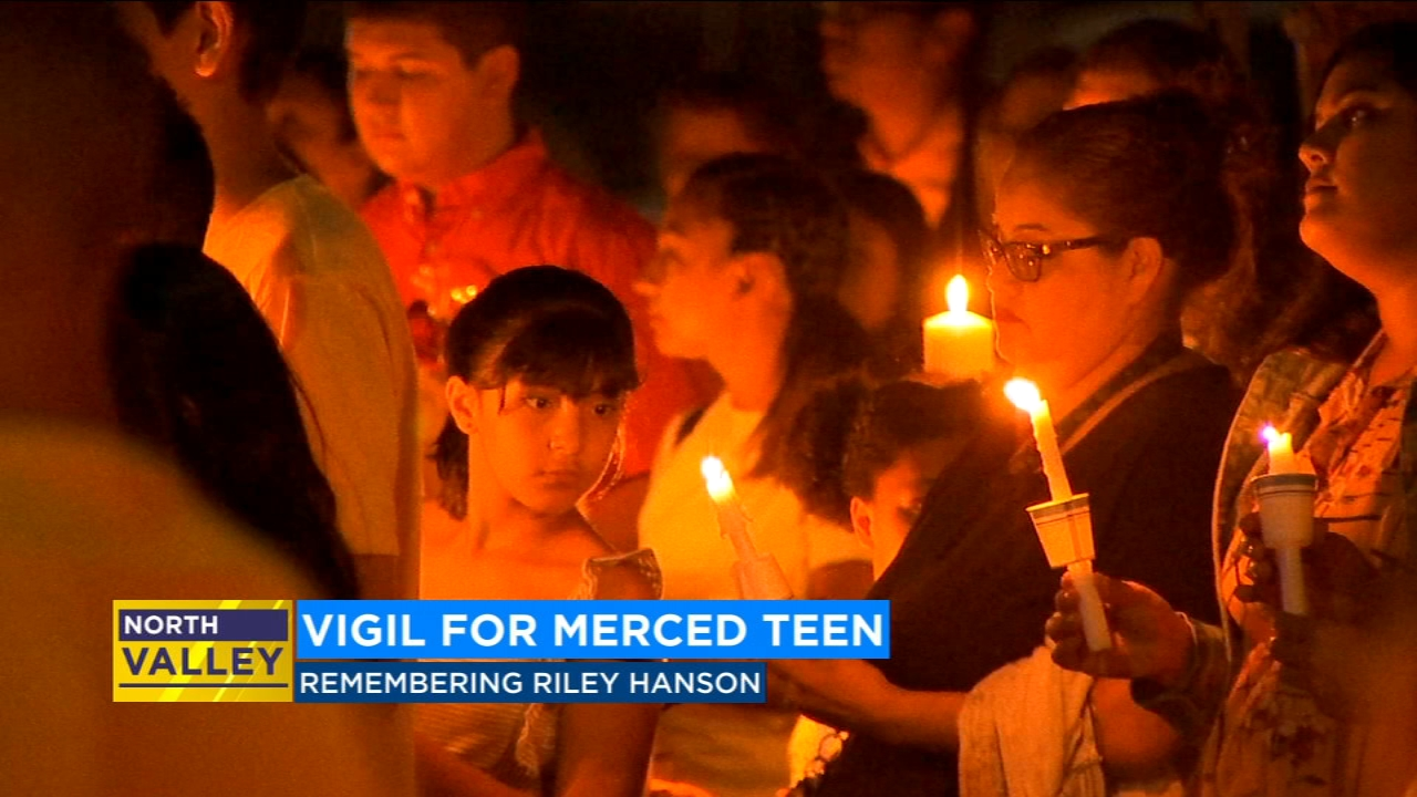 Dozens turned out for a candlelight vigil for 16-year-old Riley Hanson last night in Merced.
