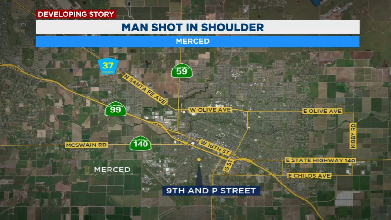 Merced Police say the man was shot in the shoulder and the thigh Saturday afternoon near 9th and P Street.