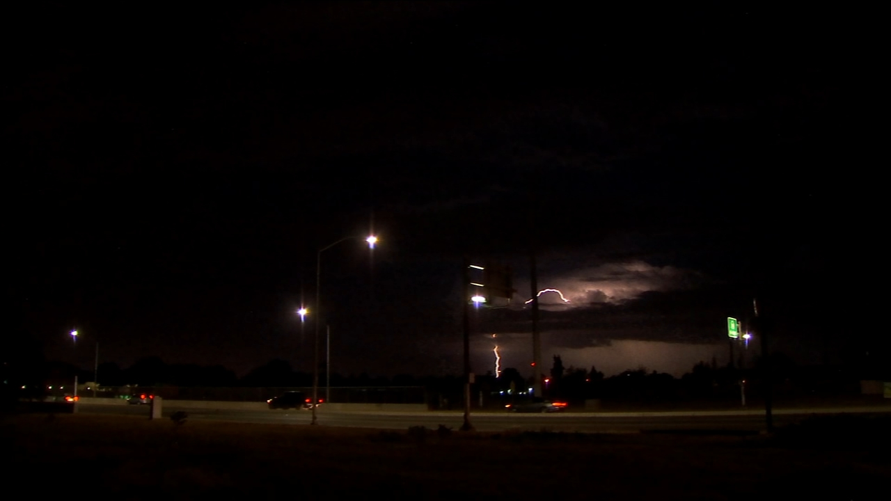 Lightning in the sky shot in the area of Highway 180 and Peach in East Central Fresno just a few hours ago