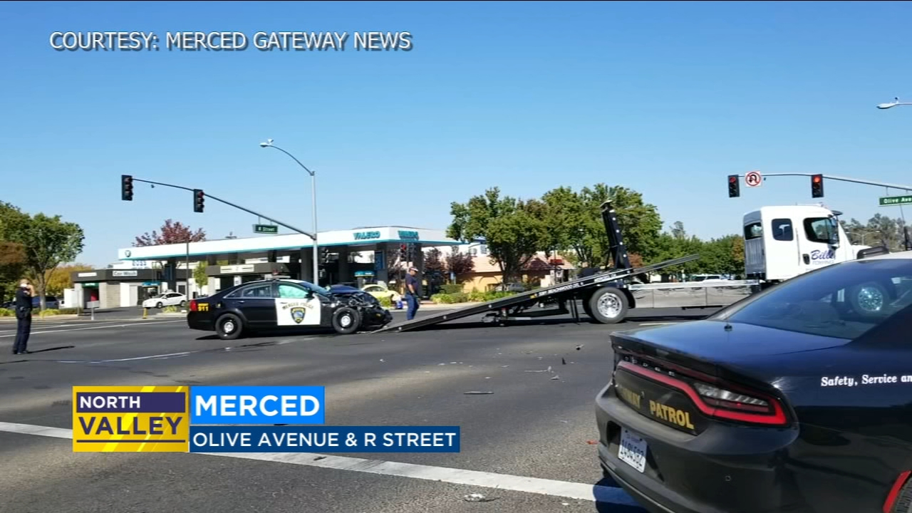 Video from Merced Gateway News shows the damage sustained by the patrol car in the crash.