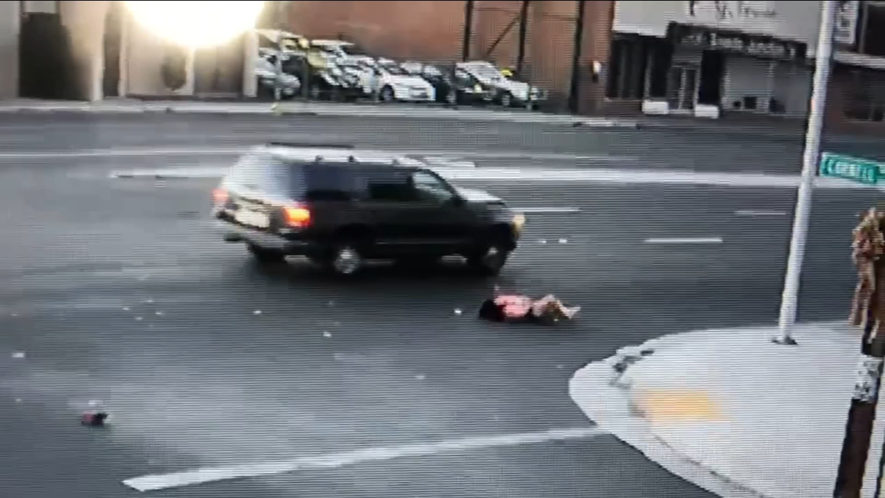 Shocking video captures the moment a driver hits a woman in Central Fresno and then leaves her injured in the middle of the road.