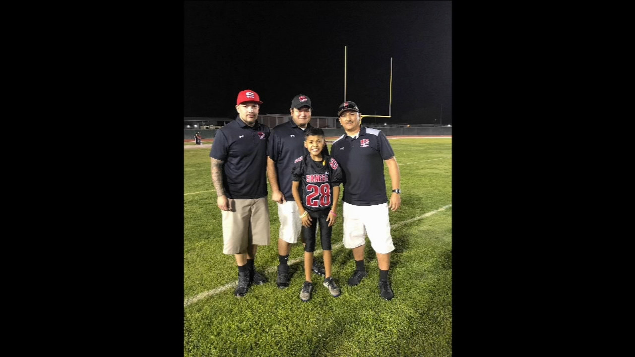 It was a special moment for an 11-year-old in Sanger when a youth football team set him up to make the last play of the game.