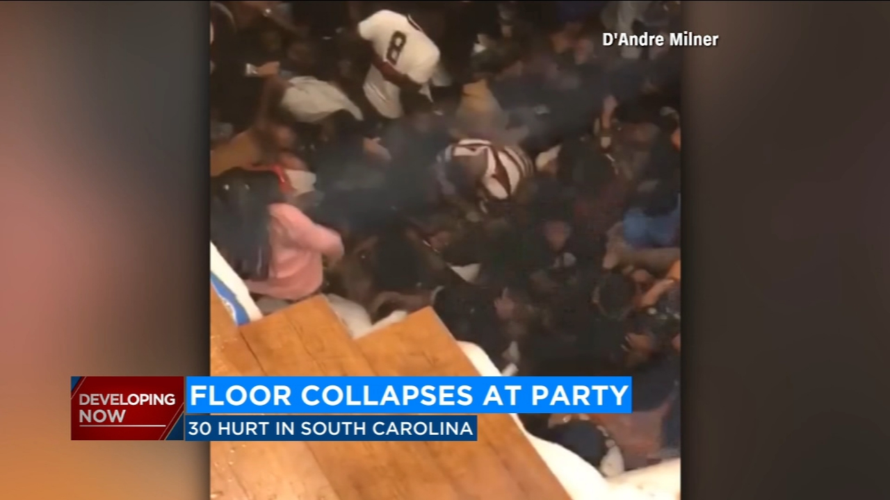 Floor collapses at fraternity party