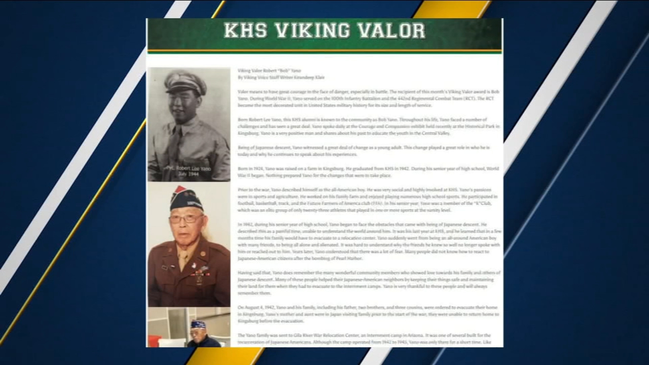 Kingsburg High honors Japanese American graduates before football game