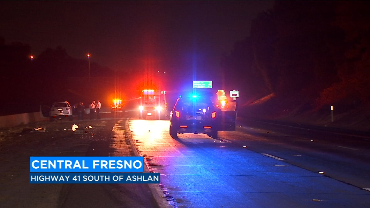Authorities say a man in his twenties was killed when he was hit by an SUV while crossing the south lanes of the freeway near Ashlan Avenue.