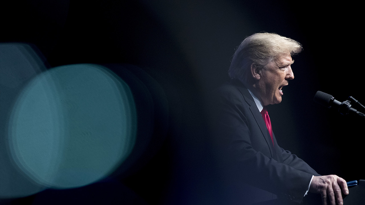 President Donald Trump speaks at the 91st Annual Future Farmers of America Convention and Expo at Bankers Life Fieldhouse in Indianapolis, Saturday, Oct. 27, 2018.
